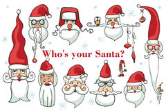 Santa Claus face set. Santa Claus faces. Humor Christmas,new year.Vector set Stock Photography