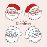 Santa Claus faces emotions. Set of four badges with Santa Clause's face Royalty Free Stock Photography