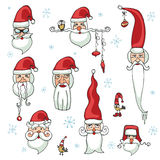 Santa Claus faces set.Stickers,icons Royalty Free Stock Image