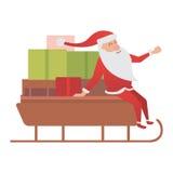 Santa Claus-Fahrerschlitten-Lieferungsillustration stock abbildung
