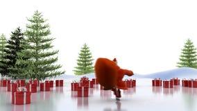 Santa Claus-Fahrten auf Rochen stock video