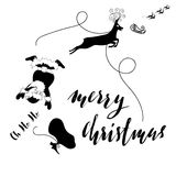 Santa Claus fall from sleigh with harness on the reindeer. Black and white vector illustration. Chtistmas lettering. Santa Claus fall from sleigh with harness on Stock Photos