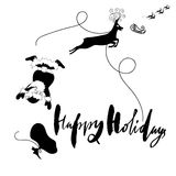 Santa Claus fall from sleigh with harness on the reindeer. Black and white vector illustration. Happy Holidays. Santa Claus fall from sleigh with harness on the Stock Photos