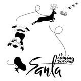 Santa Claus fall from sleigh with harness on the reindeer. Black and white vector illustration. Santa is coming to town. Santa Claus fall from sleigh with Stock Images