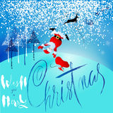 Santa Claus fall from sleigh with harness on the reindeer. Vector illustration. Chtistmas lettering. EPS10 Stock Images