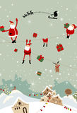 Santa Claus falling to the town in Christmas eve Royalty Free Stock Photography