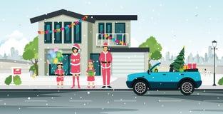 Santa Claus-familie Stock Foto