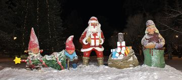 The Santa Claus family in the City park in Luleå Stock Photo