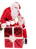 Santa claus family with child. Royalty Free Stock Images
