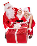 Santa claus family with child. Royalty Free Stock Photos