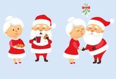 Santa Claus family vector illustration