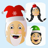 Santa Claus fashion icon easy editable on white background together with miss  and elf vector illustration. Santa Claus fashion icon easy editable on white Royalty Free Stock Photo