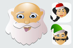 Santa Claus fashion icon easy  on white background together with miss  and elf  illustration. Santa Claus fashion icon easy  on white background together with Royalty Free Stock Photo