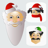 Santa Claus fashion icon easy  on white background together with miss  and elf  illustration. Santa Claus fashion icon easy  on white background together with Stock Images