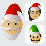 Santa Claus fashion icon easy  on white background together with miss  and elf  illustration. Santa Claus fashion icon easy  on white background together with Royalty Free Stock Images
