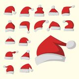 Santa claus fashion red hat modern elegance cap winter xmas holiday top clothes vector illustration. Stock Images