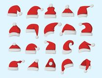 Santa claus fashion red hat modern elegance cap winter xmas holiday top clothes vector illustration. Stock Image