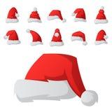 Santa claus fashion red hat modern elegance cap winter xmas holiday top clothes vector illustration. Royalty Free Stock Image