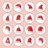 Santa claus fashion red hat modern elegance cap winter xmas holiday top clothes vector illustration. Stock Photo