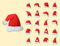Santa claus fashion red hat modern elegance cap winter xmas holiday top clothes vector illustration. Santa claus fashion red hat modern elegance cap element and stock illustration