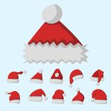 Santa claus fashion red hat modern elegance cap winter xmas holiday top clothes vector illustration. Stock Image