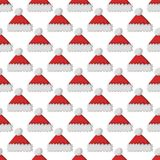 Santa claus fashion red hat modern seamless pattern cap winter xmas holiday top clothes vector illustration. Stock Photography