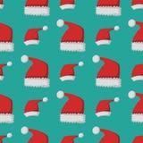 Santa claus fashion red hat modern seamless pattern cap winter xmas holiday top clothes vector illustration. Royalty Free Stock Image