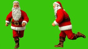 Santa claus is fast running around on green screen during Christmas. 3D Rendering stock illustration