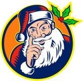 Santa Claus Father Christmas Retro. Retro style illustration of santa claus saint nicholas father christmas pointing finger on isolated white background woodcut Stock Images