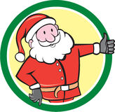 Santa Claus Father Christmas Thumbs Up-Cirkelbeeldverhaal Stock Afbeeldingen