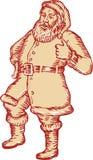 Santa Claus Father Christmas Thumbs Up etsning vektor illustrationer