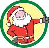 Santa Claus Father Christmas Thumbs Up-Kreis-Karikatur Stockbilder