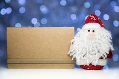 Santa Claus or Father Frost with blank card from craft paper Stock Photography