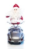 Santa Claus or Father Frost with old retro car Royalty Free Stock Photos