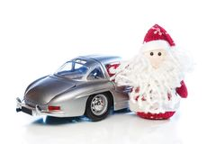 Santa Claus or Father Frost with old retro car Royalty Free Stock Photography