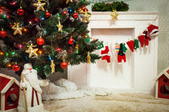 Santa Claus or Father Frost toy in christmas decor Stock Images