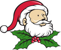 Santa Claus Father Head Christmas Holly-Beeldverhaal Royalty-vrije Stock Fotografie