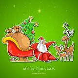 Santa Claus feeding reindeer in Christmas Royalty Free Stock Photos
