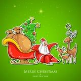 Santa Claus feeding reindeer in Christmas. Illustration of Santa Claus feeding reindeer in Christmas Royalty Free Stock Photos
