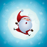 Santa Claus feeling excited. Jumping Stock Images