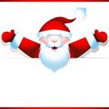 Santa Claus feliz con la bandera en blanco Fotografía de archivo libre de regalías