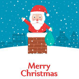 Santa Claus feliz que tenta participar na casa através da chaminé na Noite de Natal Fotografia de Stock Royalty Free