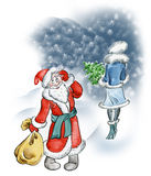 Santa Claus fell in love. Illustration of an Santa Claus fell in love with a cute girl Royalty Free Stock Image