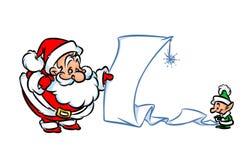 Santa Claus-Feriengeschenklisten-Karikaturillustration Lizenzfreie Stockfotografie
