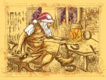 Santa Claus - ferreiro ilustração do vetor