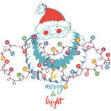 Santa Claus and festive garlands with multicolored lights. Christmas and New Year`s  illustration on a white background. Royalty Free Stock Photos