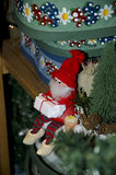 Santa Claus figure old fashioned and handcrafted. A knitted Santa Claus figure old fashioned and handcrafted. One-of-a-kind Santa Christmas decoration in red royalty free stock photo
