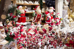 Santa Claus figures on Christmas market Royalty Free Stock Photo