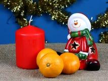 Santa Claus figurine on a blue background! Stock Photos