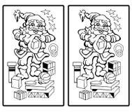Santa claus finden sie die zehn unterschiede stockfotos